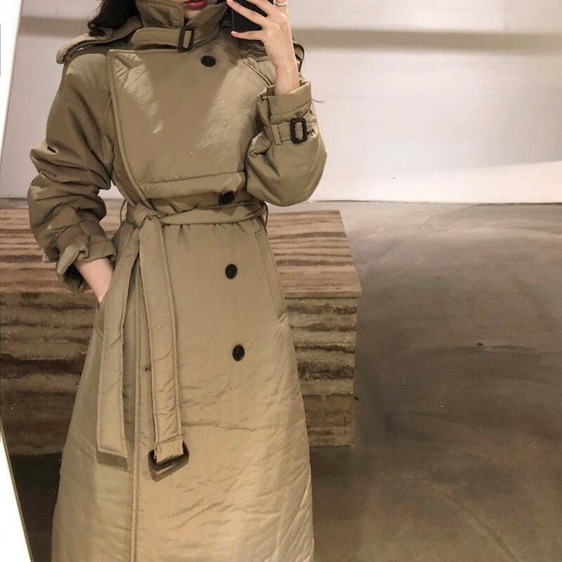 WOMENGAGAWomen Parka Bandage Warm IiIing Long Womens Winter Jackets Coats Black Khaki Vintage Long Coats New Fashion Sxey DG138