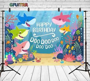 Image 2 - Cartoon Sea Shark Doo Photography Backdrop Baby Kids Birthday Party Photo Background Under The Sea Blue Vinyl  Photo Booth Props