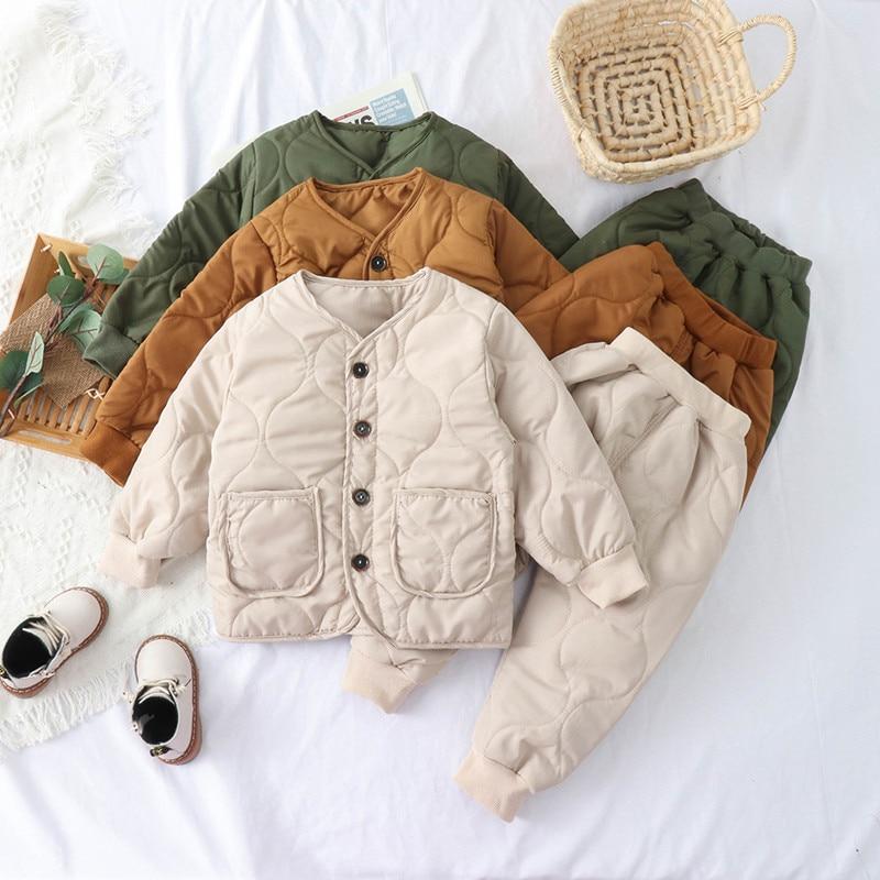 Fashion Infant Suit Winter Baby Boys Clothes Warm Kids Solid Down Cotton Coat Pants 2 pcs Baby Girls Clothing Set