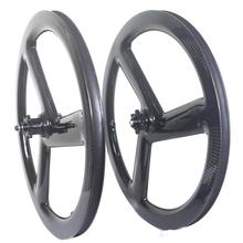 トライスポーク20インチ451カーボンホイールセットbmx折りたたみ自転車の車輪のディスクブレーキ3スポークカーボンバイクホイール