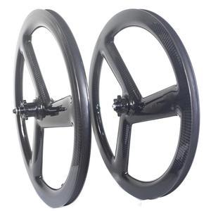 Image 1 - Tri Spoke 20 Inch 451 Carbon Wheelset BMX Folding bike wheels Disc Brake 3 Spoke Carbon Bike Wheels