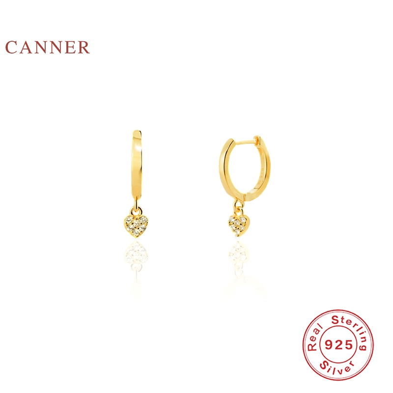 CANNER 925 Sterling Silver Earrings Geometric Minimalist Heart Oorbel Diamant Earrings Jewelry Gold Earring Earrings For Women