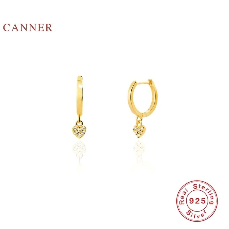 CANNER 925 Sterling Silver Earrings Geometric Minimalist Heart Oorbel Diamant Earrings Jewelry Gold Earring Earrings For Women