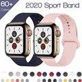 Ремешок силиконовый для Apple Watch 6 band, спортивный браслет для iwatch Series 3 4 5 6 SE, 40 мм 44 мм 38 мм 42 мм