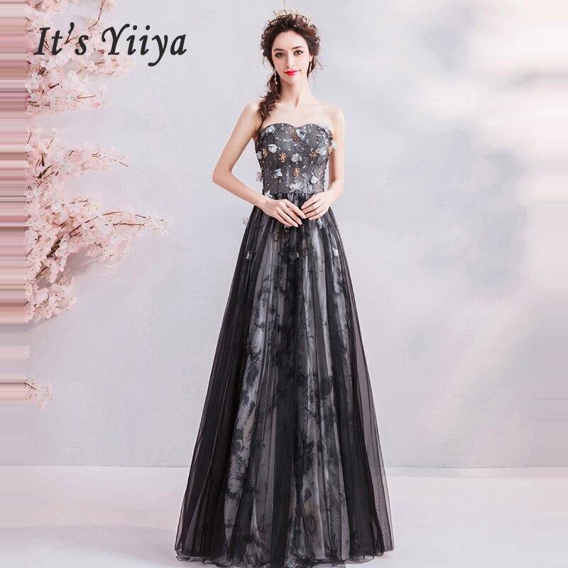 Prom Dresses Black Ruched A Line Elegant Women Party Gowns Floor Length Vestido De Gala Appliques Sexy Dancing Party Dress E237