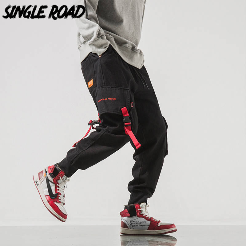 SingleRoad Men's Cargo Pants Men Hip Hop Japanese Streetwear Ribbon Pants Men Mens Trousers Joggers Male Fashion Sweatpants Man