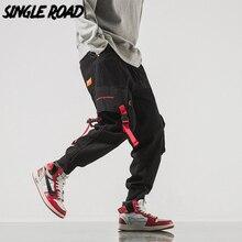 Singleroad男性のカーゴパンツ男性ヒップホップ日本ストリートリボンパンツ男性メンズズボンジョギング男性ファッションスウェットパンツ男