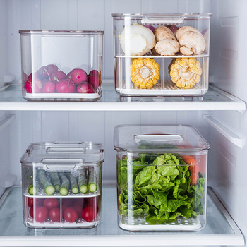 New Refrigerator Food Storage Containers with Lids Kitchen Storage Seal Tank Plastic Separate Vegetable Fruit Fresh Box Big Ml