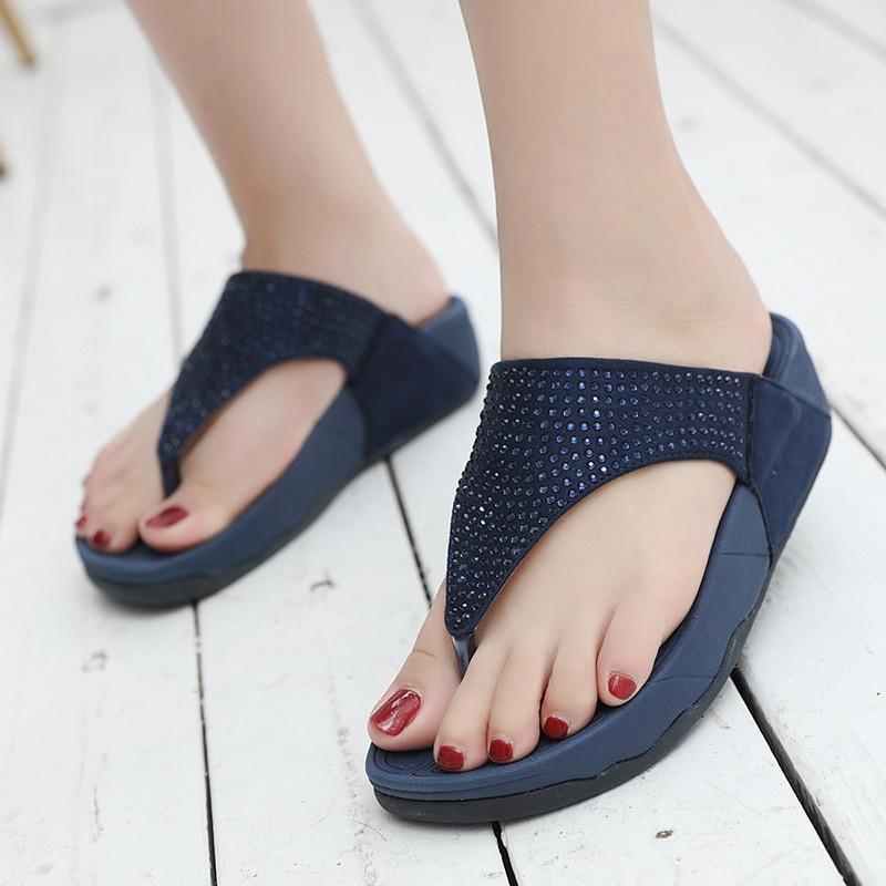 Rhinestone Women Slippers Flip Flops Summer Women Crystal Diamond Bling Beach Slides Sandals Casual Shoes Platform Woman Shoes
