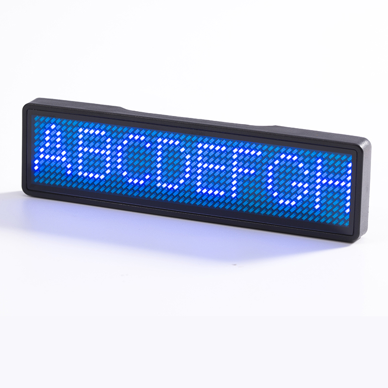 Rechargeable LED Name Badge 11*55 Dots Advertising Editable Scrolling Text Mini LED Display With Different Color Case And LED