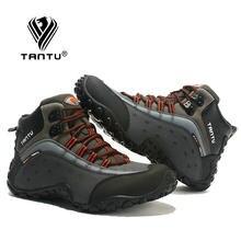 Tantu trekking sapatos para homem caminhadas à prova dwaterproof água sapatos de couro dos homens ao ar livre sapatos de montanha tênis tamanho grande 39 39 46