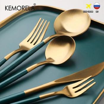 Dinnerware Set 304 Stainless Steel Cutlery Set Fork Steak Knife Set Coffee Spoon Teaspoon Flatware Tableware Kitchen Silverware