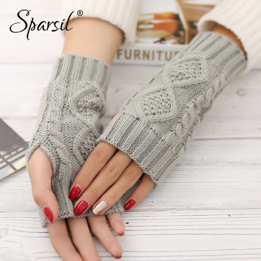 Sparsil Women Winter Knit Fingerless Gloves Warm Wool Knit Glove 20cm Jacquard Half-Finger Mittens Elastic Short Wrist Protector
