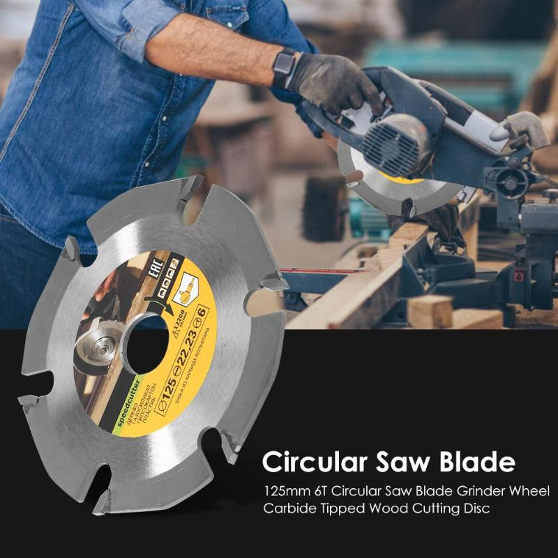 125mm 6 Teeth Circular Saw Blade Grinder Wheel Cemented Carbide Tipped Wood Cutting Disc Durable Woodworking Grinding Tool