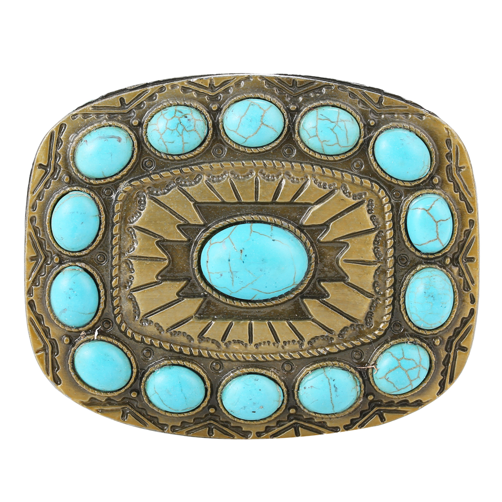 Rodeo Turquoise Bead Belt Buckle Boho Engraved Indian Bronze Tone Buckles