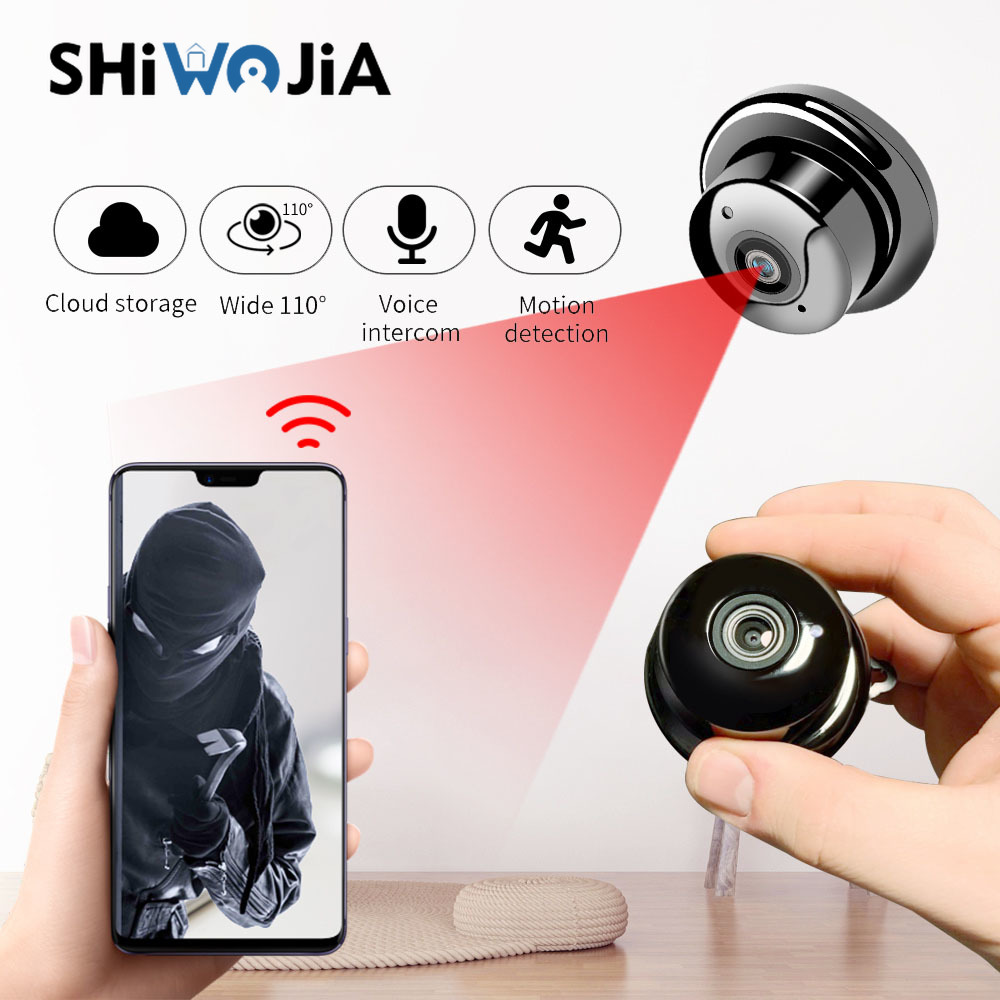 SHIWOJIA 1080P Wireless Mini WiFi Hidden Camera Home Security Monitoring Portable Infrared Night Vision Motion Detection Alarm