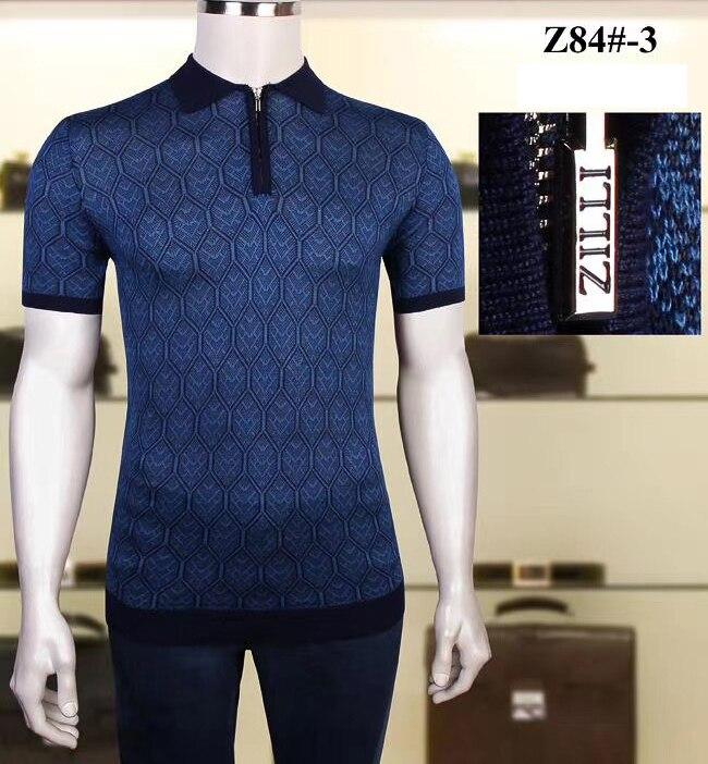 Billionaire polo shirt silk men 2021 New fashion short sleeve new thin zipper elasticit comfortable big size M-4XL quality