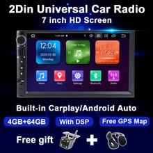 Android 10 Auto Radio Multimedia Video Player Universal 2Din Doppel Din 7 zoll Touch Screen DSP 4GB 64GB 8CORE GPS Carplay Polnischen