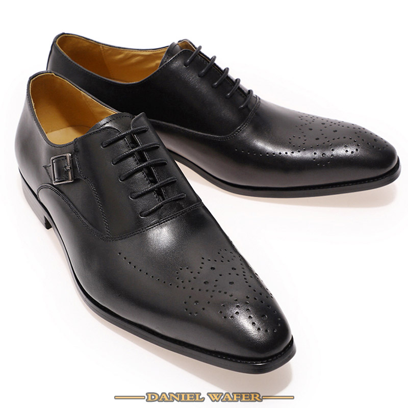 Luxury Brand Men Leather Shoes Genuine Leather Oxford Formal Shoes Men Dress Office Brown Black Lace up Buckle Strap Shoes Male 4