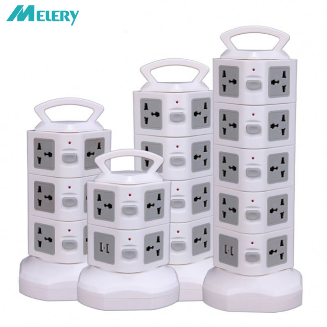 Tower Power Strip Surge Protector Vertical Multi Sockets 7/11/15/19 Way Universal Outlets Plug Socket 2 USB 3m Extention Cord