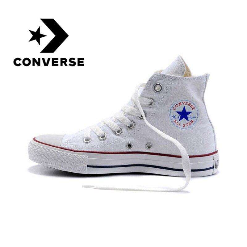 Original autêntico converse all star classic high-top unisex sapatos de skate rendas-up durável calçado de lona branco 101009