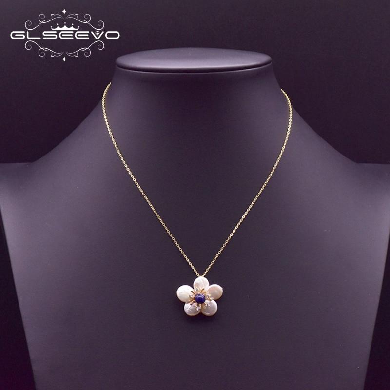 GLSEEVO 925 ayar gümüş kolye tatlı su inci çiçek kolye kolye kadınlar için düğün doğum günü hediyesi takı GN0127