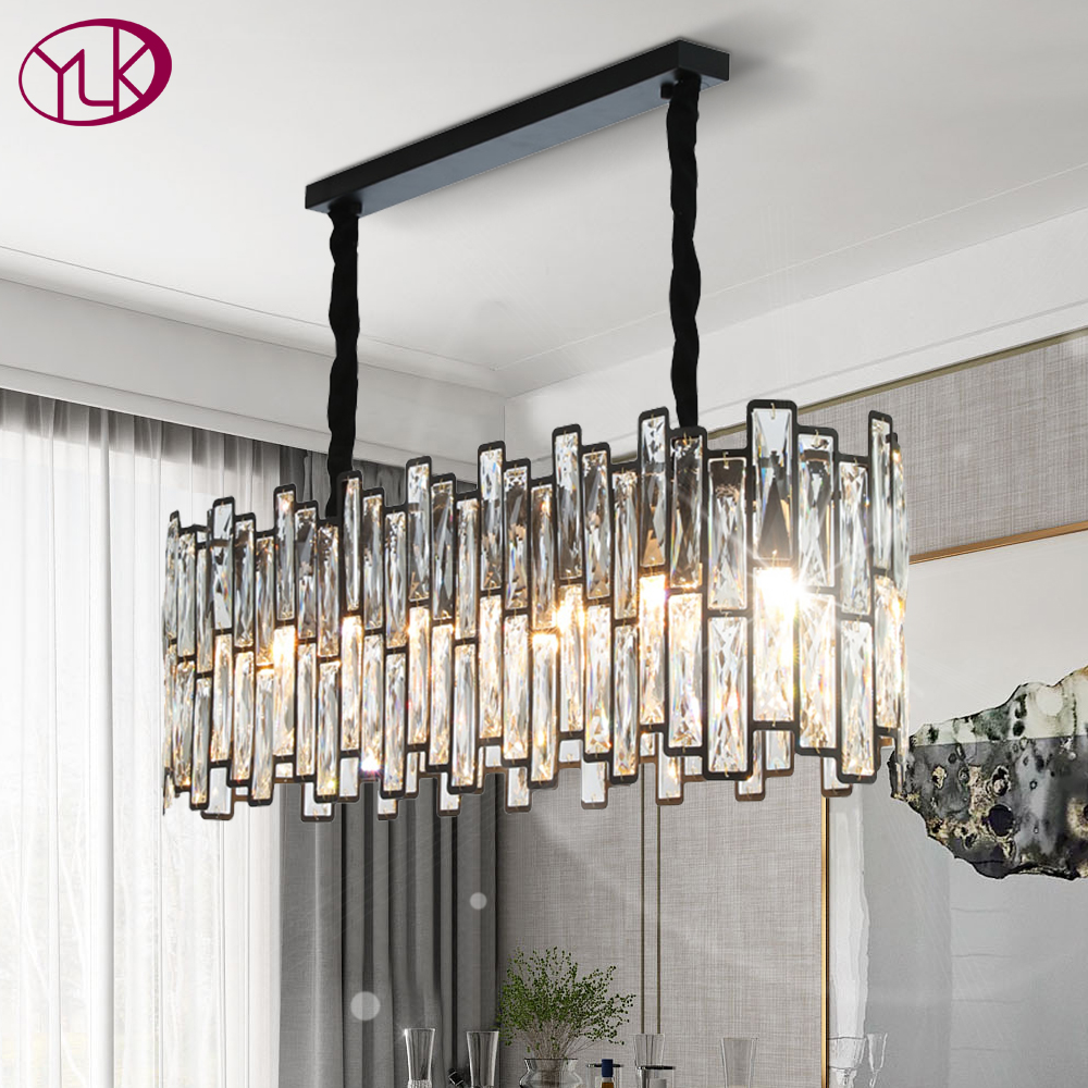 new post modern black chandelier lighting rectangle dining room kitchen island led light fixtures hanging cristal lamps