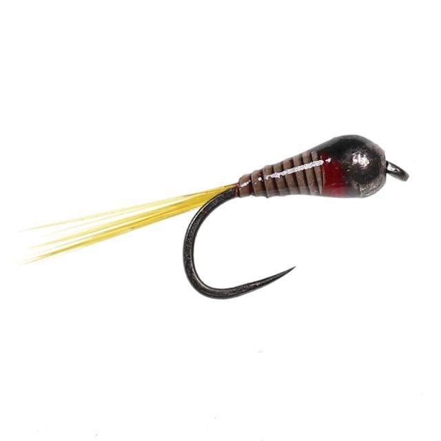 ICERIO 10PCS Brass bead Perdigon Nymphs Flies Trout Fishing Fly Lures #16