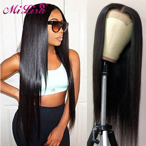 Peruvian Straight Closure Wig Glueless Lace Front Human Hair Wigs Pre Plucked 10- 30 Inch Remy Human Hair 4x4 Lace Closure Wigs(China)