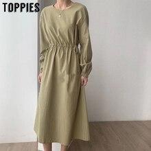 2020 spring midi dress women korean fashion long sleeve summ