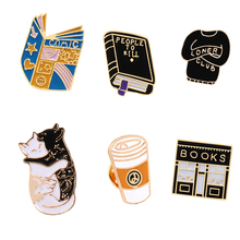 Punk Brooch Collection Witch Magic Book Lapel Pins Badges Cartoon Black-White Cat Enamel Pins Denim shirt Backpack Brooches Jewe