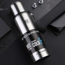 Logo özel taşınabilir su şişesi termos 1000ml 1500ml 750ml 500ml çift duvar yalıtımlı vakum CupTravel yürüyüş içme şişesi