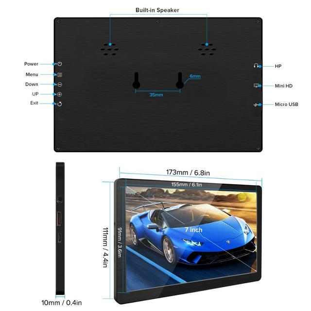 Eviciv Dual Screen Laptop 7 Inch PC Computer Second Monitor IPS 60Hz Portable Display for Switch Xbox PS4 Game Console HDMI USB 2