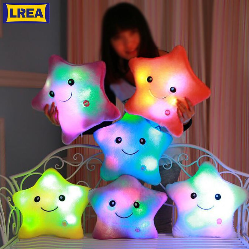 LREA  Luminous  Christmas  Led Light Plush Cushion Hot Colorful Stars Pillow