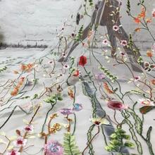1 ярд QJH Мода Горячая цветок Чистая вышитая ткань африканский кружевной материал пришить свадебное платье одежда ткань пэчворк Diy
