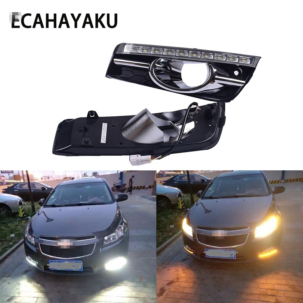 ECAHAYAKU LED Daytime <font><b>Running</b></font> <font><b>Light</b></font> DRL For <font><b>Chevrolet</b></font> <font><b>Cruze</b></font> 2009 2010 <font><b>2011</b></font> 2012 led Fog day <font><b>light</b></font> with Turn Signal Dimmed <font><b>Light</b></font> image