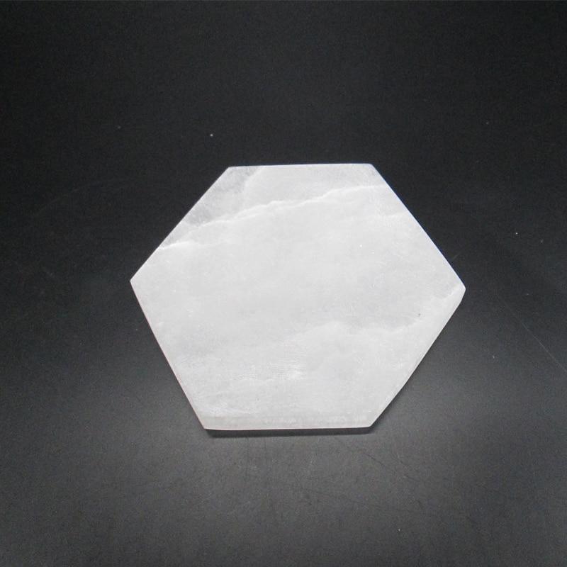 8*8 см Шестигранная зарядная пластина из натурального селенита для украшения дома