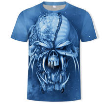 2021 Summer Hot Sale Metal 3D Horror T-shirt Men's Fashion Street Hip Hop Style Top and T-shirt 110/6XL