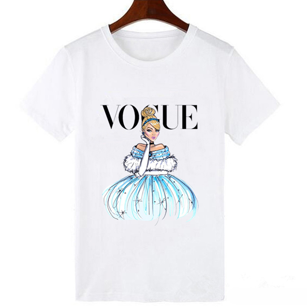 LUCKYROLL Summer T Shirt Women Fashion Comfortable White Short Sleeve Top Tee Cinderella Princess Print Ventilation Soft T-shirt