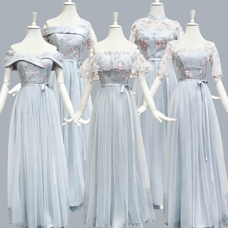 Blue Gray Bridesmaid Dress Plus Size Tulle Embroidery Off The Shoulder Wedding Party Elegant Dress Prom Azul Royal Sexy Vestidos