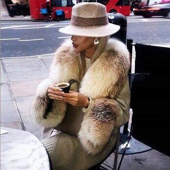 FURSARCAR 2020 New Natural Fox Fur Collar Jacket Cashmere Woolen Blends Coats  Winter Women Fashion 90cm Long Outwear