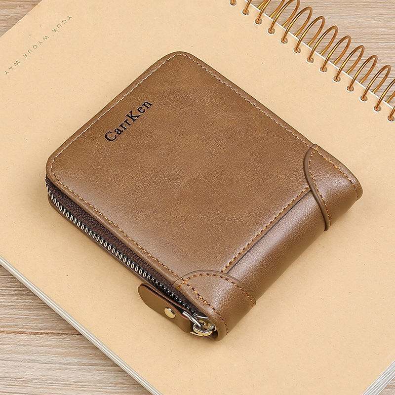 Men's Leather Wallet  Zipper Small Purse Card Holder Man Carteira Masculina Couro Coin Purse Man Porte Monnaie Money Bag 2021