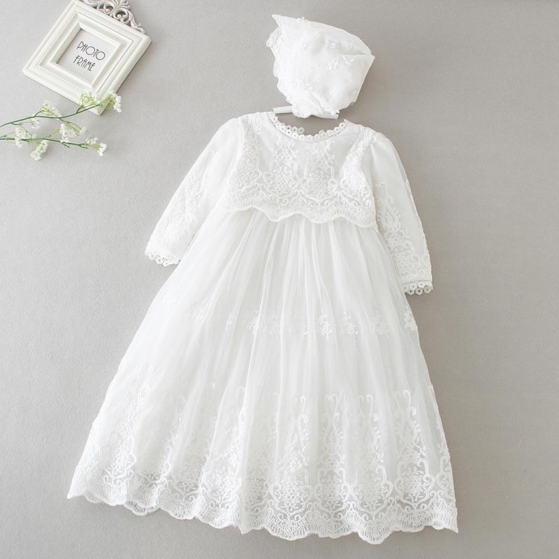 Hetiso Primeiro Aniversário Do Bebê Meninas Vestido de Manga Longa Crianças vestido de Baile Vestidos Infantis para o Batismo partido Da Dama de honra 3-24 mês