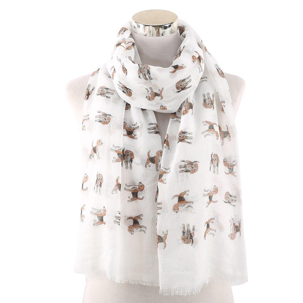 2019 Cute White Pink Animal Pet Dog Print   Scarf   Shawl Women Female   Scarves   Neck   Wrap   Foulard Femme