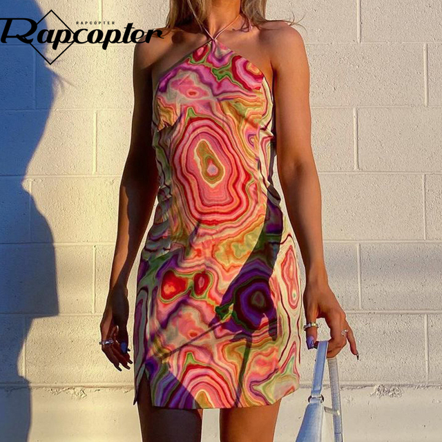 Rapcopter Paisley Mini Dress y2k Fashion Halter Dress Backless Sexy Beach Sundress Women Vintage Summer Party Dress Streetwear 1