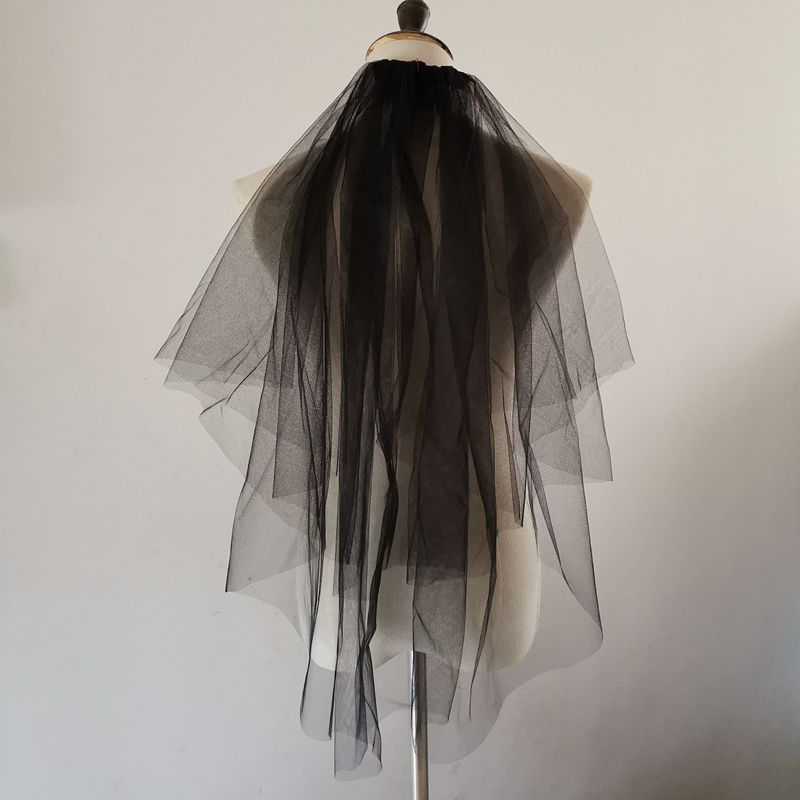 Black Veil Of The Bride 2 Layers Wedding Veils With Comb Bridal Short Veil Wedding Accessoires Mariage Velo De Novia Corto