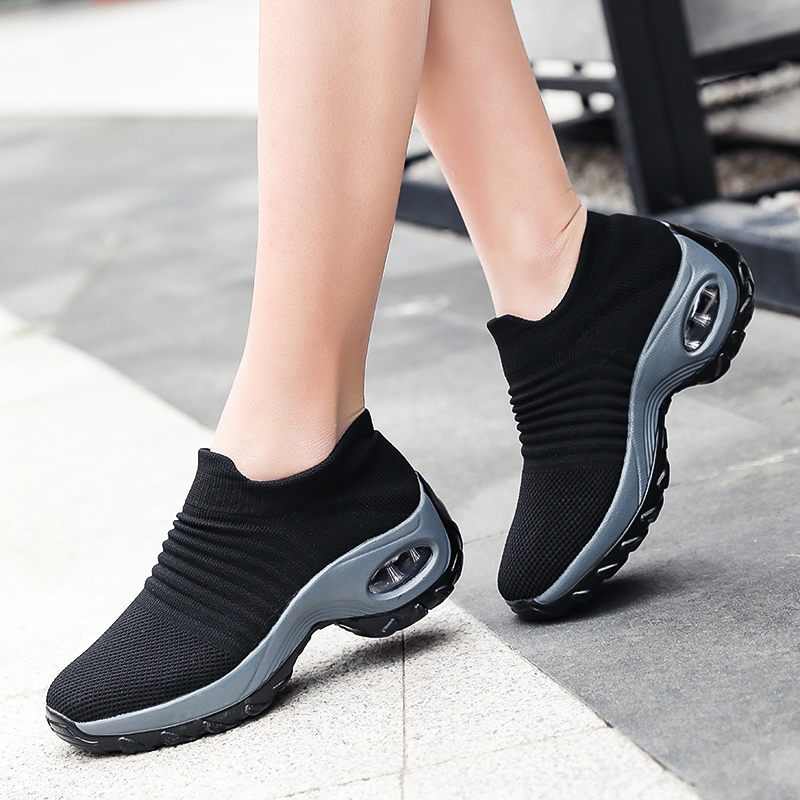 Women Tenis Feminino Breathable Mesh Air Cushion Tennis Shoes Height Increasing Slip-on Sock Sneakers Sport Shoes Platform Shoes