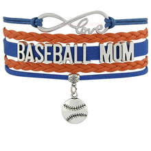 Infinity Love Baseball Mom Bracelets Coaches Heart Glove Charm Lover Womens Fashion