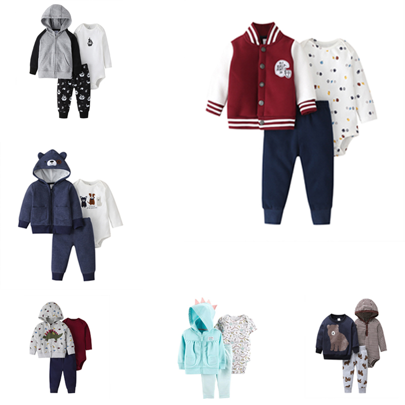 Baby Boy Clothes Set Long Sleeve Patch Jackets+romper+pant Fashion 2020 New Born Outfit Newborn Infant Clothing Spring Cotton