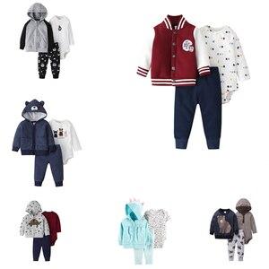 Image 1 - תינוק ילד בגדי סט ארוך שרוול תיקון מעילי + romper + צפצף אופנה 2020 חדש נולד תלבושת יילוד תינוקות בגדים אביב כותנה